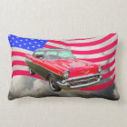 1957 Chevrolet Bel Air And American Flag Lumbar Pillow