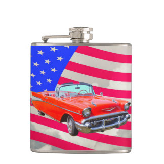 1957 Chevrolet Bel Air And US Flag Hip Flask