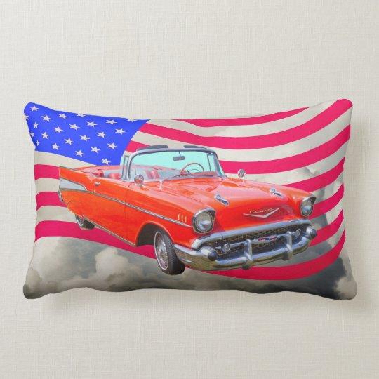 1957 Chevrolet Bel Air And US Flag Lumbar Pillow