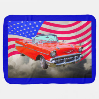 1957 Chevrolet Bel Air And US Flag Swaddle Blanket