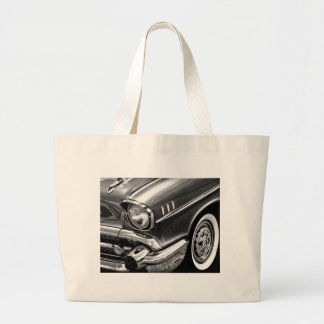 1957 Chevrolet Bel Air Black & White Large Tote Bag