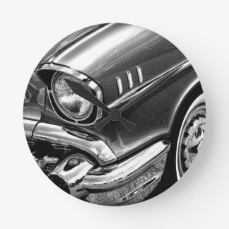 1957 Chevrolet Bel Air Black & White Round Clock
