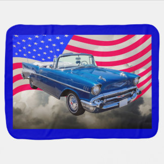 1957 Chevrolet Bel Air with American Flag Baby Blanket