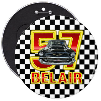 1957 Chevy Bel Air Button. 6 Inch Round Button