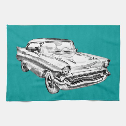 1957 Chevy Bel Air Illustration Hand Towel