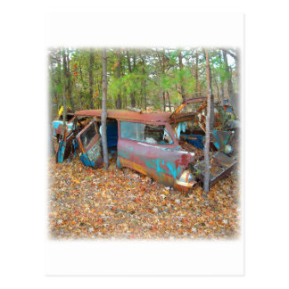 1957 Chevy Nomad Rusting in Wooded Junkyard Postcard