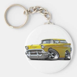 1957 Chevy Nomad Yellow Hot Rod Basic Round Button Keychain