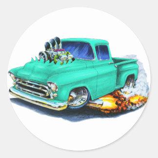 1957 Chevy Pickup Seafoam Green Round Sticker