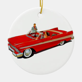 1957 Plymouth Belvedere Convertible Coupe Round Ceramic Ornament