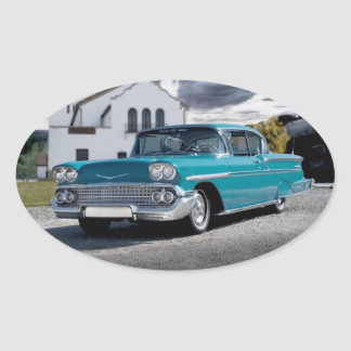 1958 Chevy Bel Air Belair Chevrolet Classic Car Oval Sticker