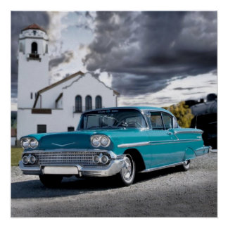 1958 Chevy Bel Air Belair Chevrolet Classic Car Poster