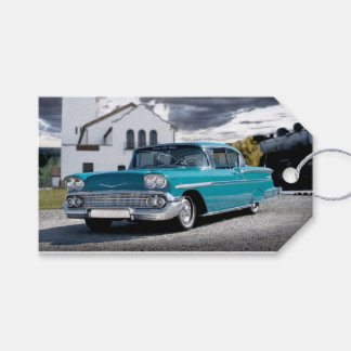1958 Chevy Bel Air Classic Car Train Depot Gift Tags