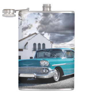 1958 Chevy Bel Air Classic Car Train Depot Hip Flask