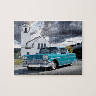1958 Chevy Bel Air Classic Car Train Depot Jigsaw Puzzle