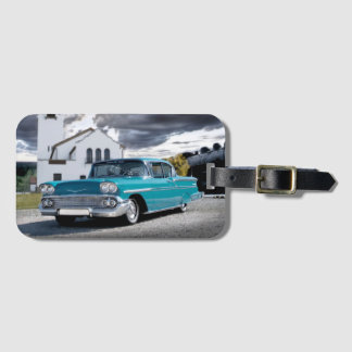 1958 Chevy Bel Air Classic Car Train Depot Luggage Tag