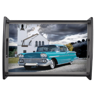 1958 Chevy Bel Air Classic Car Train Depot Serving Tray
