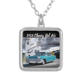 1958 Chevy Bel Air Classic Car Train Depot Silver Plated Necklace