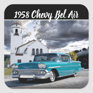 1958 Chevy Bel Air Classic Car Train Depot Square Sticker
