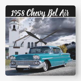 1958 Chevy Bel Air Classic Car Train Depot Square Wall Clock