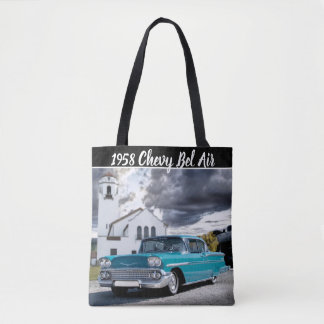 1958 Chevy Bel Air Classic Car Train Depot Tote Bag