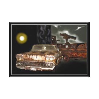 1958 Chevy Bel Air,junkyard car,classic car,rusty Canvas Print
