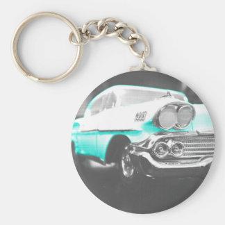 1958 chevy impala bright blue classic car keychain