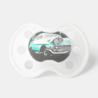 1958 chevy impala bright blue classic car pacifier