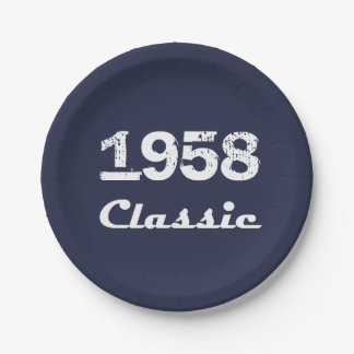 1958 Classic 60th Birthday Party Celebration Paper Plate