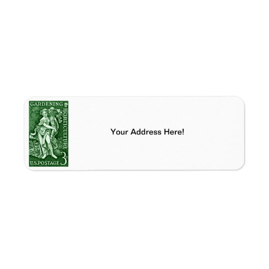 1958 Gardening + Horticulture Stamp Return Address Label