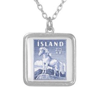 1958 Icelandic Horse Postage Stamp Silver Plated Necklace