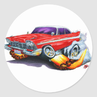 1958 Plymouth Fury Red Car Classic Round Sticker