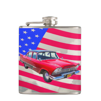 1958 Plymouth Savoy Car With American Flag Flasks
