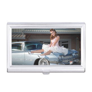 1959 Caddy Cadillac Princess Pin Up Car Girl Business Card Holder
