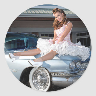 1959 Caddy Cadillac Princess Pin Up Car Girl Classic Round Sticker