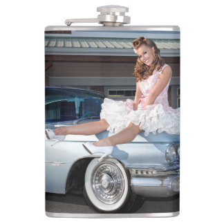 1959 Caddy Cadillac Princess Pin Up Car Girl Hip Flask