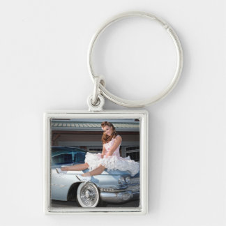 1959 Caddy Cadillac Princess Pin Up Car Girl Keychain