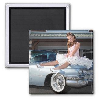 1959 Caddy Cadillac Princess Pin Up Car Girl Magnet