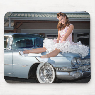 1959 Caddy Cadillac Princess Pin Up Car Girl Mouse Pad