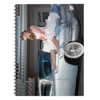 1959 Caddy Cadillac Princess Pin Up Car Girl Notebook