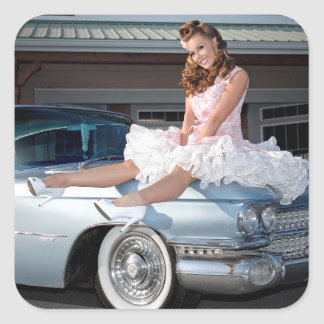 1959 Caddy Cadillac Princess Pin Up Car Girl Square Sticker