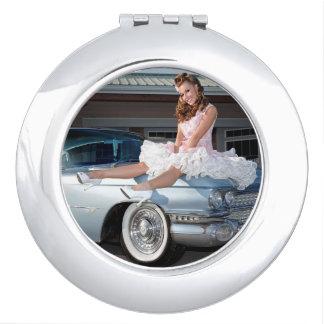 1959 Caddy Cadillac Princess Pin Up Car Girl Travel Mirror
