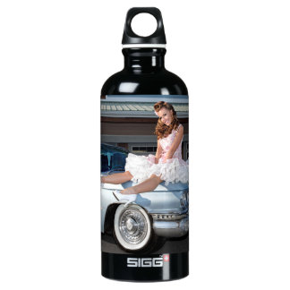 1959 Caddy Cadillac Princess Pin Up Car Girl Water Bottle