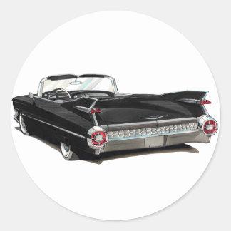 1959 Cadillac Black Car Round Sticker