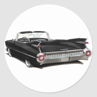 1959 Cadillac Black Car Round Stickers
