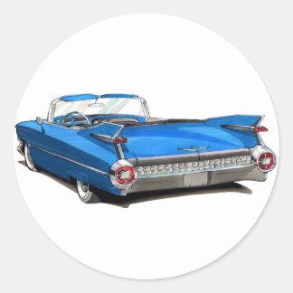 1959 Cadillac Blue Car Round Sticker