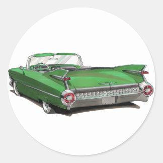 1959 Cadillac Green Car Round Sticker