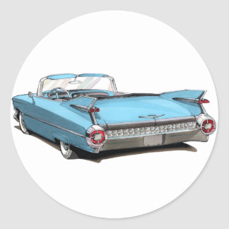 1959 Cadillac Lt Blue Car Round Sticker