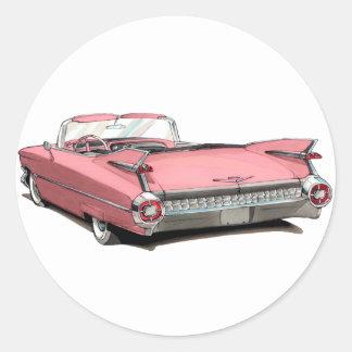 1959 Cadillac Pink Car Round Sticker