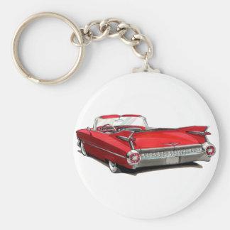 1959 Cadillac Red Car Keychain