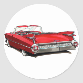 1959 Cadillac Red Car Round Sticker